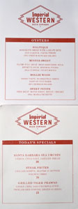 Imperial Western Beer Company Oyster List & Specials Menu