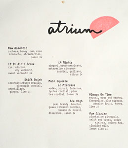 Atrium Cocktail List