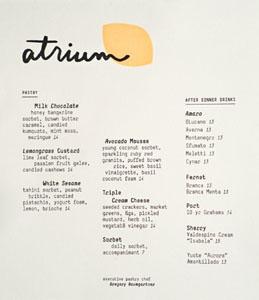 Atrium Dessert Menu