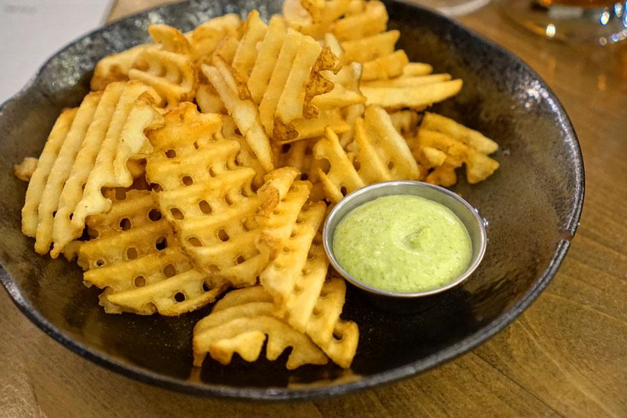 Waffle fries, chive aioli