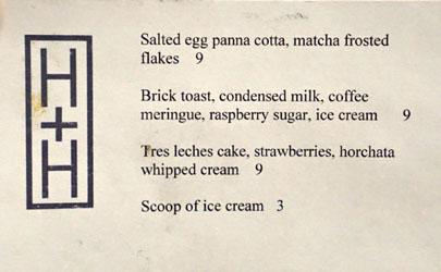 Hock + Hoof Dessert Menu