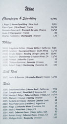 Hock + Hoof Wine List
