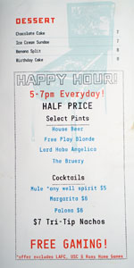 Free Play DTLA Menu: Dessert, Happy Hour