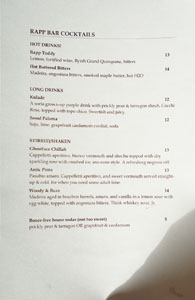 Rappahannock Oyster Bar Cocktail List