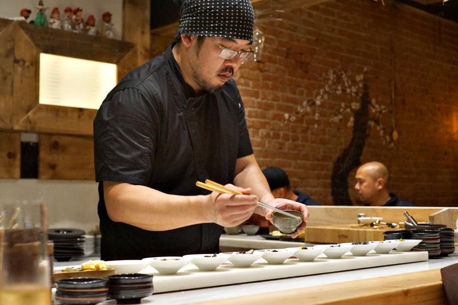 Gino Choi Garnishing Oysters