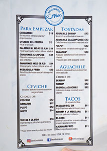 Cevichería Nais Menu: Para Empezar, Ceviche, Tostadas, Aguachile, Tacos