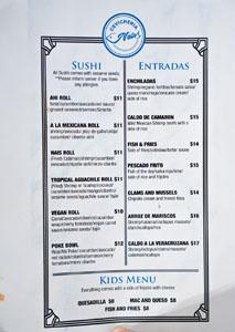 Cevichería Nais Menu: Sushi, Entradas, Kids Menu