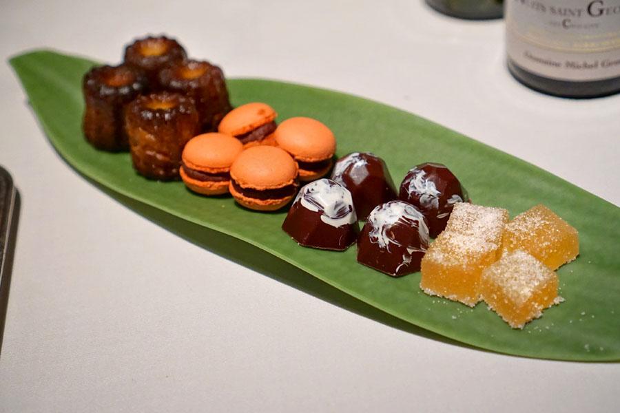 Canelés, Strawberry-Chocolate Macarons, Caramel Bonbons, Pâte de Fruits