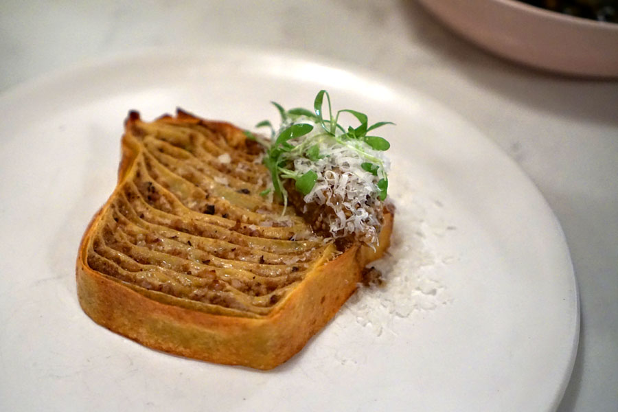 lasagna, pork ragu, tofu cream, prickly ash