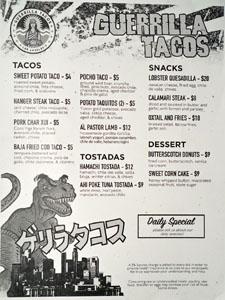 Guerrilla Tacos Menu