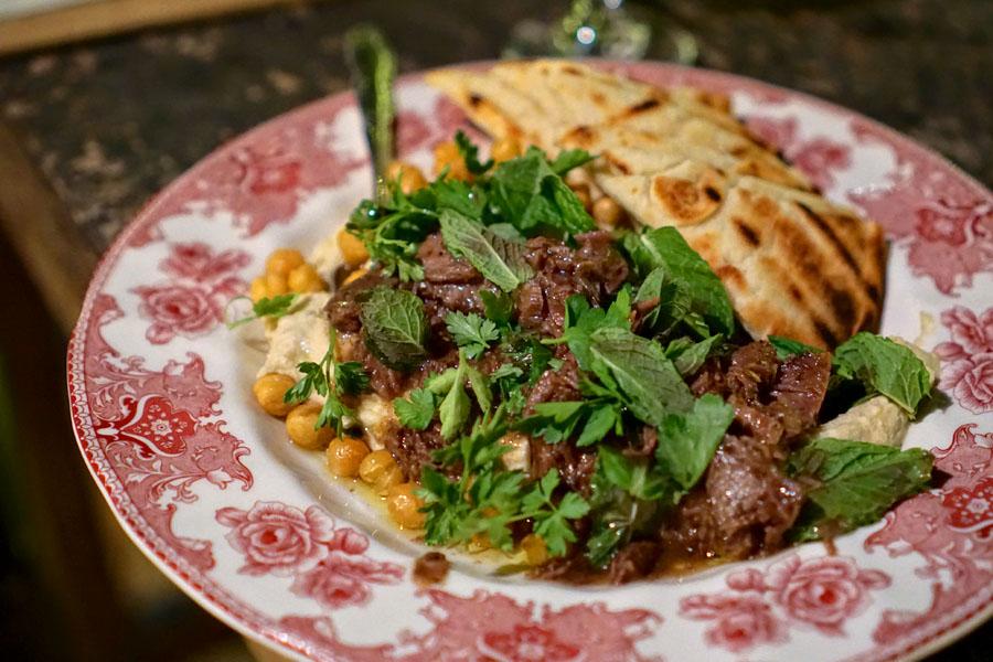 Hummus bi Tahini, Crisped Chickpeas, EV Olive Oil, Beef Cheek Kawarma