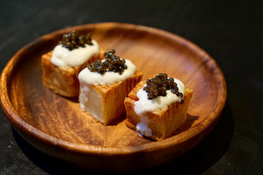Barr, Copenhagen, Hasselback Potato, Creme Fraiche, Green Garlic, Osetra Caviar