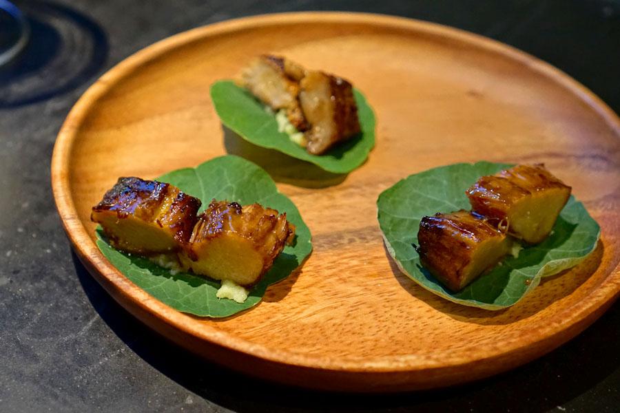 Inua, Tokyo, enoki mushroom nasturtium taco