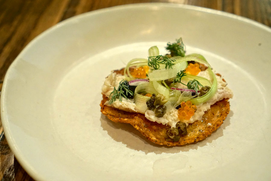 'Everything' tostada, smoked whitefish, caviar, chilemole, trout roe