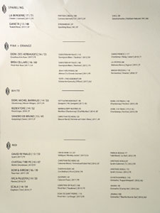 Reverie Wine List