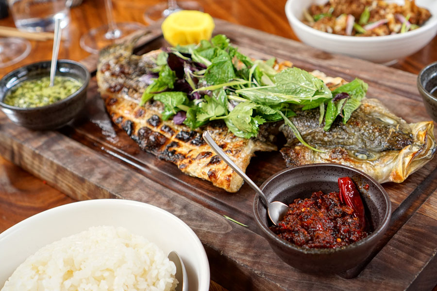 Grilled Whole Striped Bass