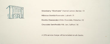 Firehouse Hotel Dessert Menu