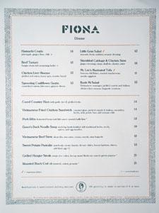 Fiona Dinner Menu
