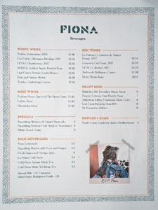 Fiona Beverage List