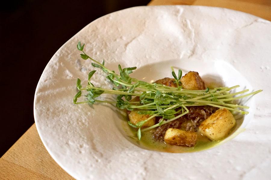 California Morels, gnocchi, asparagus & pea coulis