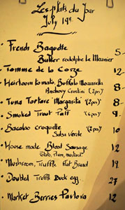 Church & State 'Le Plats du Jour' Menu