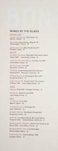 Bon Temps Wines by the Glass List