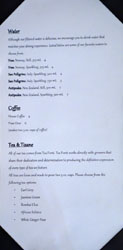 Journeyman's Food & Drink Water, Coffee, and Tea/Tisane List