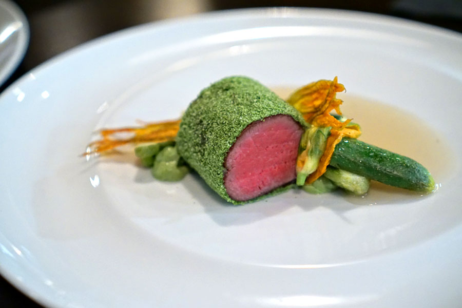 Herb Crusted Anderson Lamb, Courgette, White Lamb Jus