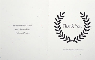Journeyman's Food & Drink Thank You Card