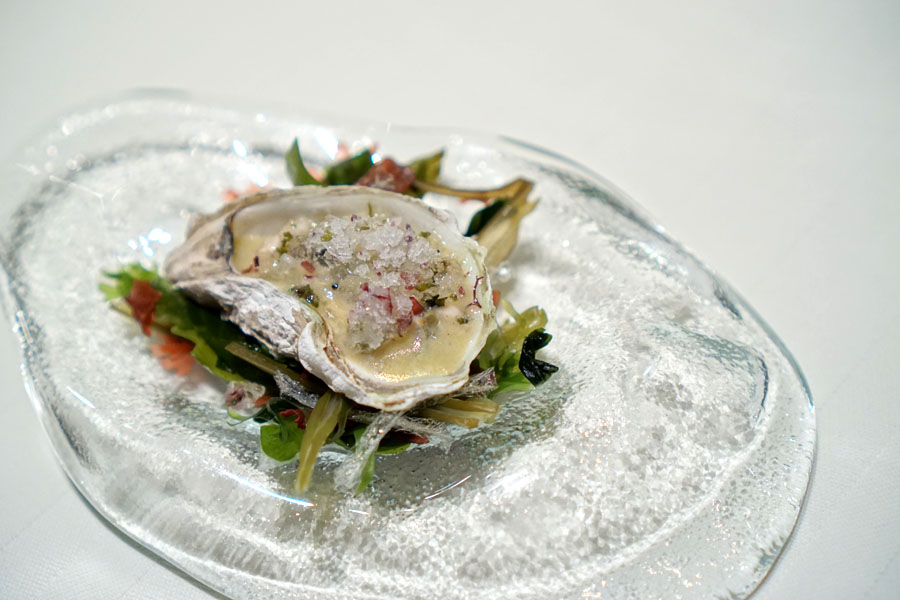 Kushi Oyster Concassée, Lemon and Seaweed Granité