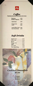 Sweets Raku Coffee & Soft Drink List