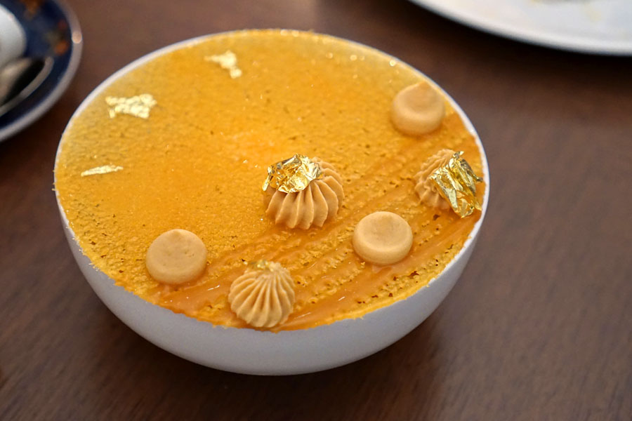 Caramel, V.S.O.P. cognac mousse, almond cake & crumble, caramel cream & ice cream
