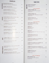 Knife Pleat Wine List: Champagne, White Wine