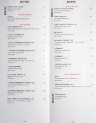 Knife Pleat Wine List: Red Wine