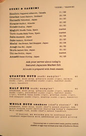 Sushi Note Menu: Sushi & Sashimi