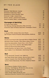 Sushi Note Wines by the Glass List