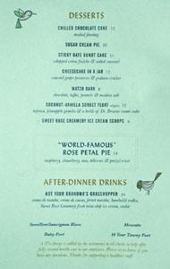 Birdie G's Dessert Menu