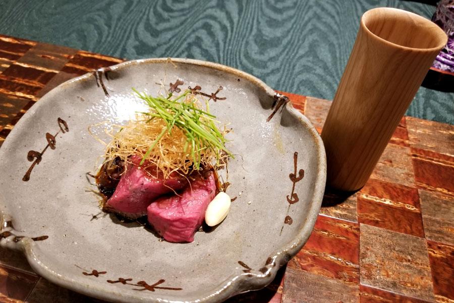 Firewood Grilled Sanuki Olive Beef, Japanese Horseradish