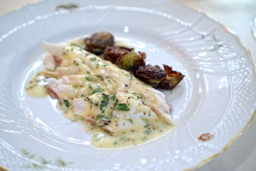 Salted Baked Branzino with Brussels Sprouts