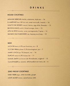 Fork Cocktail & Beer List