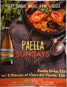 Gabi James Paella Sundays Menu