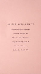 Angler Limited Availability Menu