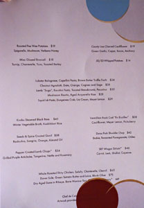 Citrin Menu: Mains, Sides