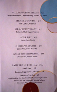 Citrin Dessert Menu