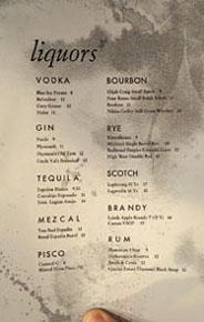Piccalilli Liquor List