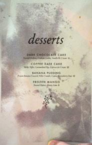 Piccalilli Dessert Menu