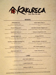 Kakurega Menu: Mixers, Land