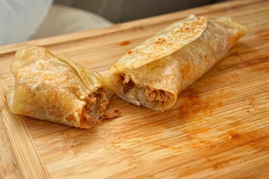 Birria, Frijoles y Queso 'Con Todo' Burrito (Cut Open)
