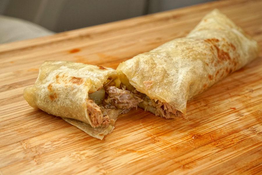 Deshebrada Burrito (Cut Open)
