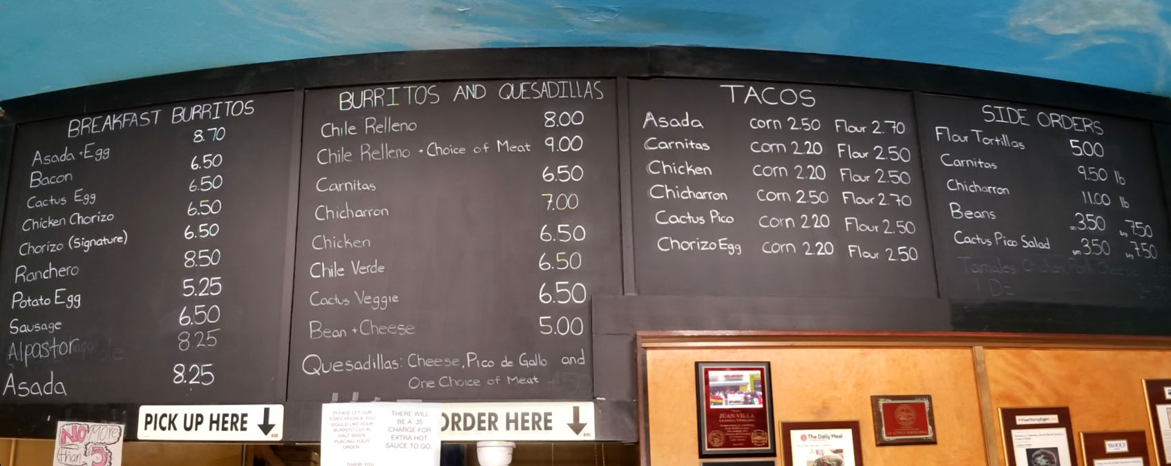 La Azteca Tortilleria Menu